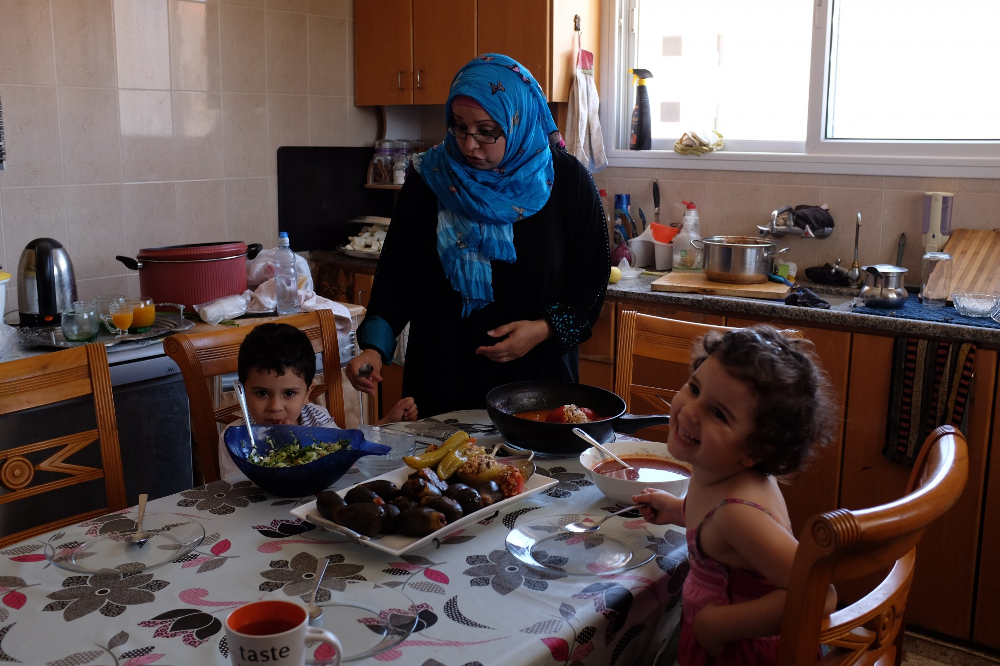 Samah Zahalka (Abu-Sido), daughter of Abed and Yusra, with her children Zina and Abed Al-Rahman at home in Jenin. Photo: Alex Levac