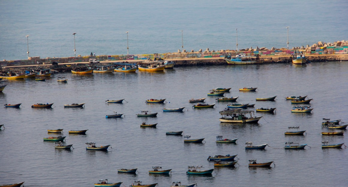 Fishing boats in Gaza. Fishing off the Gaza coast has become a hazardous occupation. Photo by Gisha