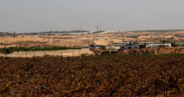 Corps in the buffer zone, a look towards the fence from inside Gaza. November 2016, Photo by Gisha